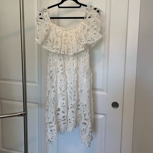 Chicwish off the shoulder white crochet dress